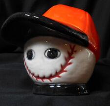 Handpainted Ceramic Baseball Wearing A Cap Piggy Bank Orange White Black