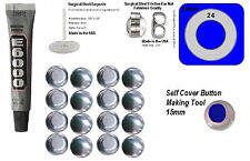 50 Fabric Cover Button Earrings DIY KIT Stud Stainless Steel  15mm NEW STYLE