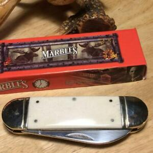 "Marble's White Smooth Bone Sunfish 4 1/8"" Pocket Knife MR581"