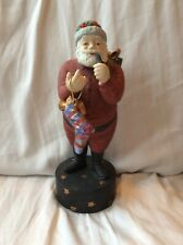 Vintage Collectible Dept 56 Christmas Santa Smoking Pipe Music Box 1986
