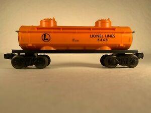 LIONEL 6465-160, LIONEL LINES ORANGE 2-DOME TANK CAR
