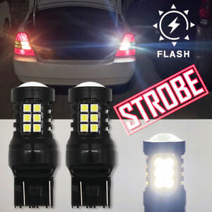 For Honda Accord Civic Sedan White 7443 LED Strobe Flashing Reverse Light Bulbs
