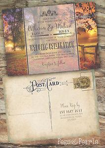 PERSONALISED PHOTO AUTUMN RUSTIC VINTAGE POSTCARD WEDDING INVITATIONS 10'S
