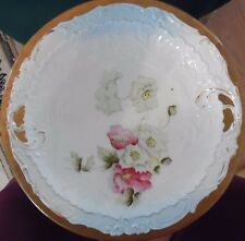 Great Grandmother's Cake Serving Plate with Poppies and Gold Trim