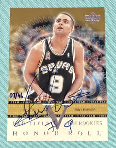 Tony Parker 2001-2002 Upper Deck Honor Roll Rookie Buyback Autograph AUTO RC /46