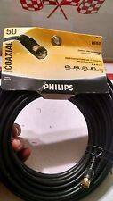 Philips 50 FT Coaxial Cable with F Connectors Video RG59 for TV VCR Satellite