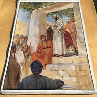 "1920s Educational Poster - linen backed 27"" x 20"" - Peter Preaching - antique"