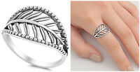 Sterling Silver 925 PRETTY LADIES LEAF DESIGN SILVER RING 14MM SIZES 5-10