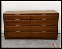 60s Mid Century Modern American Martinsville Walnut Wood Sculpted Lowboy Dresser