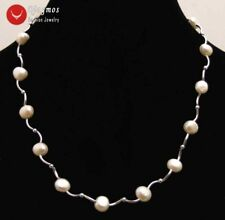 Floating 8-9mm Natural White Pearl Necklace for Women Elbow Chokers Jewelry 17''