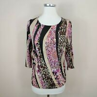 Chico's 0 / S Floral + Animal Print Mixed Pattern Top 3/4 Sleeve Ruche