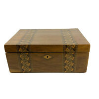 Inlaid Marquetry Wood Box Writing Stationery Slope Field Desk Antique c1800s