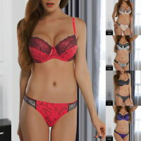 Hot Women's Sexy  Bra Set Lady Underwire Push Up Bra + Panties Lingerie SF