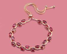Natural Ruby Gemstone 14K Rose Gold Plating 925 Silver Adjustable Tie Bracelet