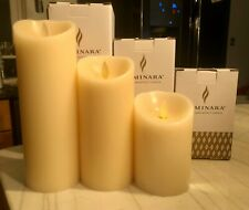 "Set of 3 Luminara Flameless Pillar Candles Moving Wick Ivory Remote Wax 5"" 7"" 9"""
