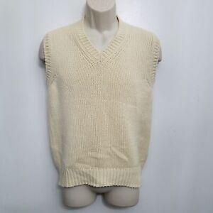 Manrico Athletics Mens Cashmere Vest 48 Beige Brown V Neck Crochet Knit Italy