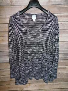 Sunday 3X Black Gray White Sweater Scoop Neck Knit Shirt Long Sleeve Woman 3XL