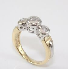 14K Yellow White Gold Natural Diamond Past Present Future Anniversary Ring 7.5