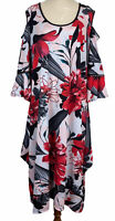 TS Taking Shape Womens Black/Red Floral Cold Shoulder 3/4 Sleeve Dress Size M