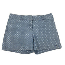 White House Black Market Womens Polka Dot Jean Shorts Size 4 Chambray WHBM