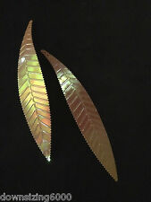 Vintage Sequins Leaf 115mm / 4.5inch Honey Gold Iridecent Rainbow Exquisite