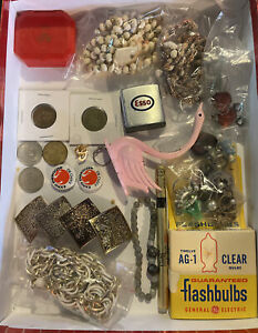 Junk Drawer Lot - Coins, Jewelry , Esso Tape Measure , and More