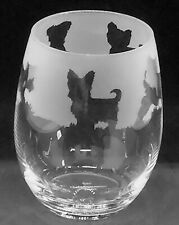 More details for yorkshire terrier frieze boxed 36cl crystal stemless wine / water glass