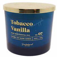 Scentsational Natural Soy Blend 26oz Cotton 3 Wick Candle - Tobacco Vanilla No 7