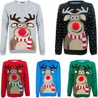 Kids Childrens Boys Girls Xmas Christmas Winter Jumper Sweater Knitted Retro New
