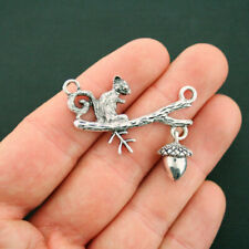 2 Squirrel Connector Charms Antique Silver Tone - 2 Piece Charm - SC6650