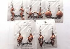 5 Pairs Vintage Hand Crafted Diamond Cut Copper Plated Pewter Earrings