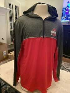 NEW Ohio State Buckeyes Colosseum Red 1/4 Zip LS Hooded Athletic Shirt Men's L