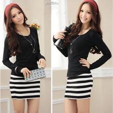Plus Size Striped Long Sleeve Shirt Dresses for Women