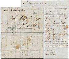 GB to PORTUGAL 1843 LETTER 560 ACCOUNTING + PORTO BOXED in BLUE + TOMBSTONE PAID