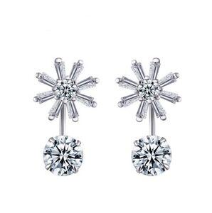 Women Flower Shape Zircon Drop Bridal Wedding 925 Sterling Silver Stud Earrings