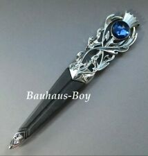 KILT SGIAN DUBH DUMMY SAFETY FAUX SAPPHIRE BLUE HIGHLAND THISTLE CHROME FINISH