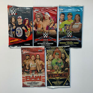 Lot Of 5 Different WWE Wrestling Card Topps Packs. 2017,18,19 Factory Sealed 🔥