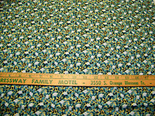 CONCORD BLUE FLORAL / METALLIC GOLD BACKROUND PRINT COTTON FABRIC 1 YD BTY quilt
