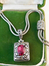Ruby Red Rhinestone Pendant Rhodium Plated Foxtail Chain Heart Necklace 12c 1