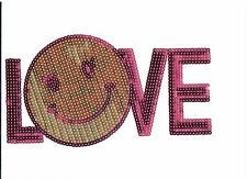 """Neon Pink and Yellow """"Smiling LOVE"""": Sequin Patch"""
