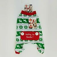 Puppy Dog Green Red White Christmas Winter Pajamas XS Snowflake Reindeer