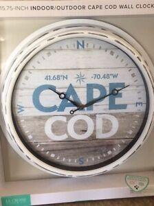 "CAPE COD Coordinates 15.75"" Indoor/Outdoor Wall Clock La Crosse battery"