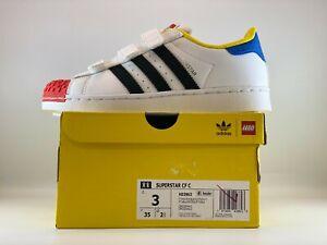 Adidas Originals Superstar Lego Kids Shoes Size 3 Cloud White Core Black H03963