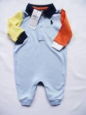 NEW Ralph Lauren Boys Blue Multi Coloured Romper Baby Grow Suit 0-3m
