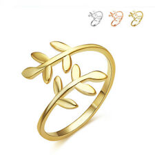 NEW Stylish 925 Sterling Gold Abstract Vine Leave Adjustable Ring Size 3-5