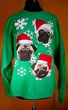 Pug Dogs Pugs Christmas Sweatshirt Green Snowflakes NWT Large Holiday