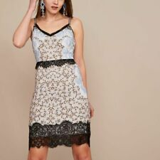 BNWT River Island Blue Holly Fulton embellished party slip lace dress size 12
