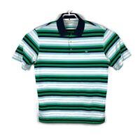Nike Golf Mens Green Striped Polo Shirt Tour Performance Dri Fit Size Large