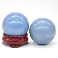 Wholesale 30MM Natural Blue Angelite Crystal Healing Reiki Gemstone Shpere Ball