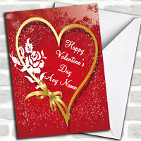 Heart And Bow Romantic Personalized Valentine's Day Card